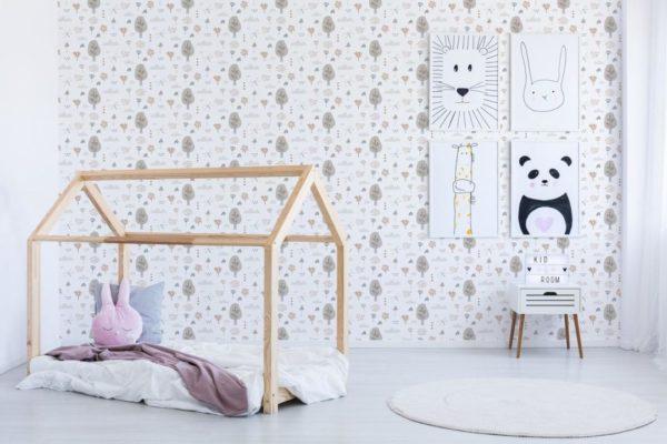 gray boho forest self-adhesive wallpaper