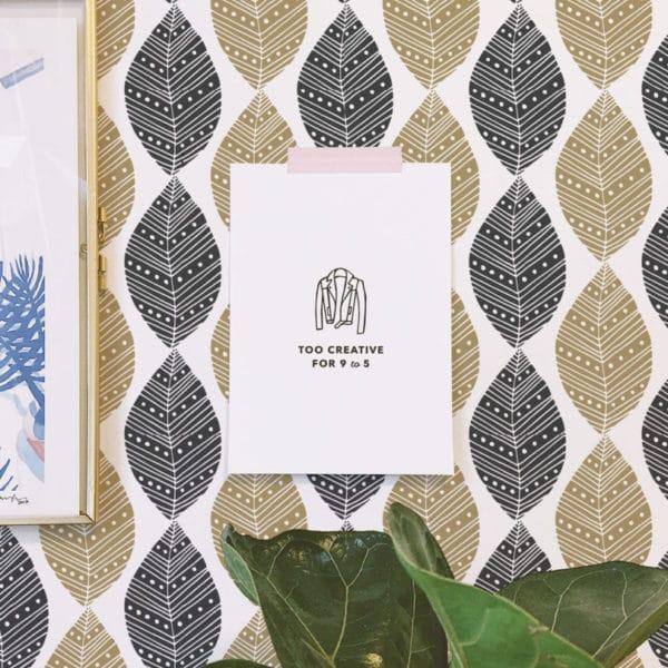 beige and black boho leaf peel and stick removable wallpaper