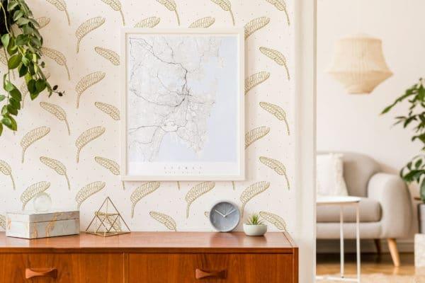 beige boho leaf peel and stick wallpaper
