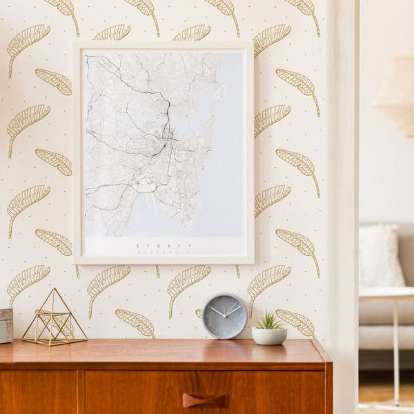 beige boho leaf peel and stick wallpaper