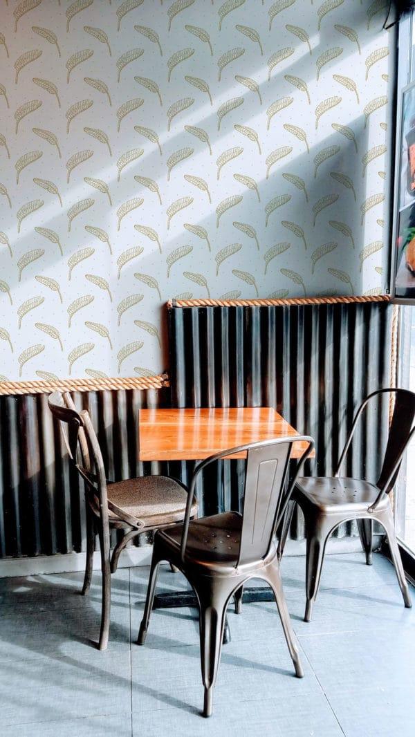 beige boho leaf peel and stick removable wallpaper