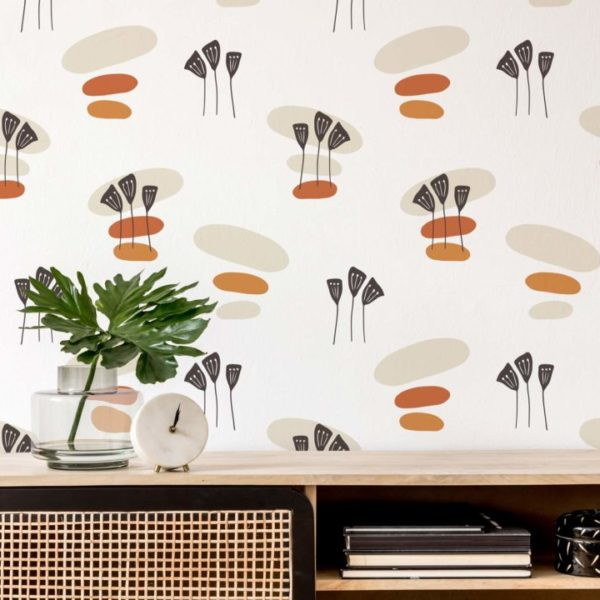beige boho removable wallpaper