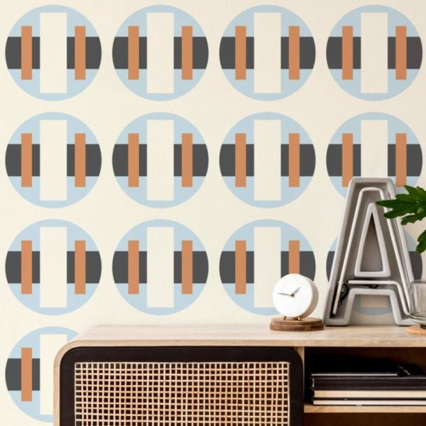 blue and beige bold circle peel and stick removable wallpaper