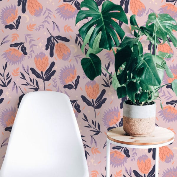 orange and pink bold floral peel and stick wallpaper