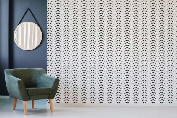 black and white bold herringbone self-adhesive wallpaper