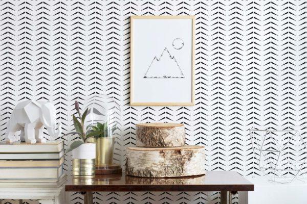 black and white bold herringbone peel and stick wallpaper