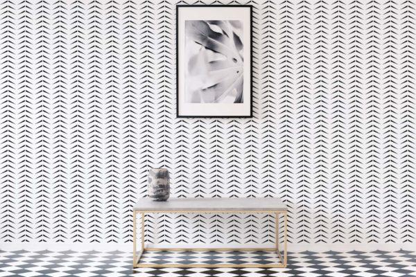 bold herringbone stick and peel wallpaper