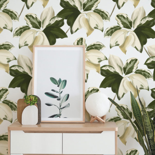 green bold leaf peel and stick wallpaper