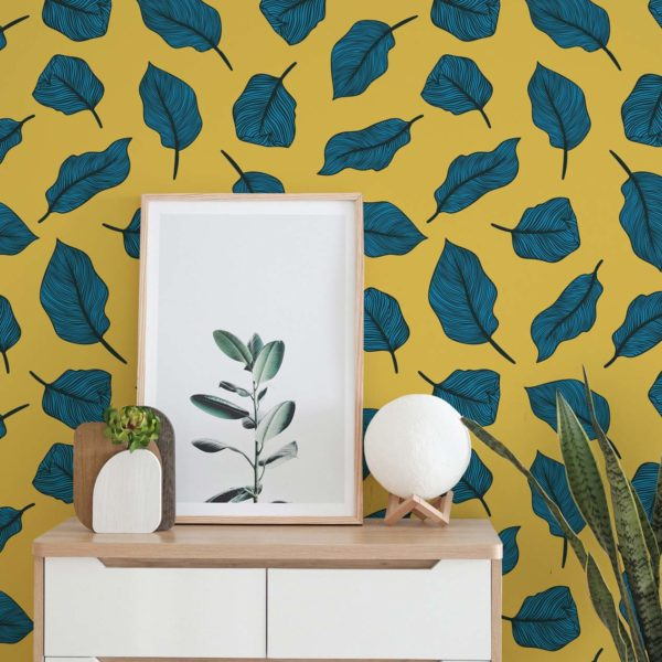 blue and yellow bold leaf wallpaper roll