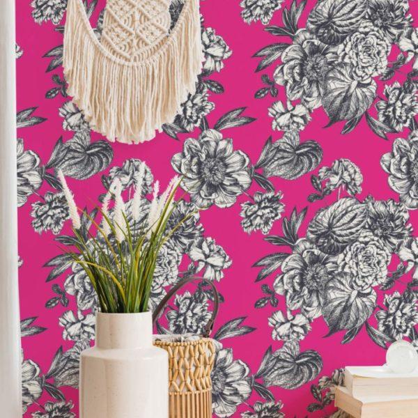 bright floral peel stick wallpaper