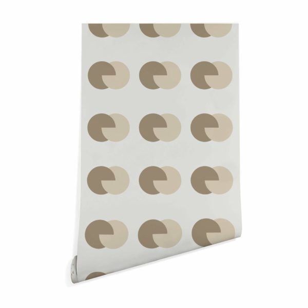 brown and beige circular wallpaper peel and stick