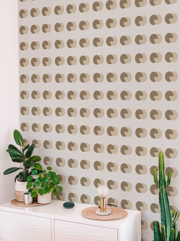 brown and beige circular removable wallpaper