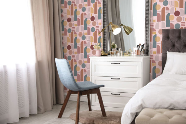 brown and pink light arch peel and stick removable wallpaper