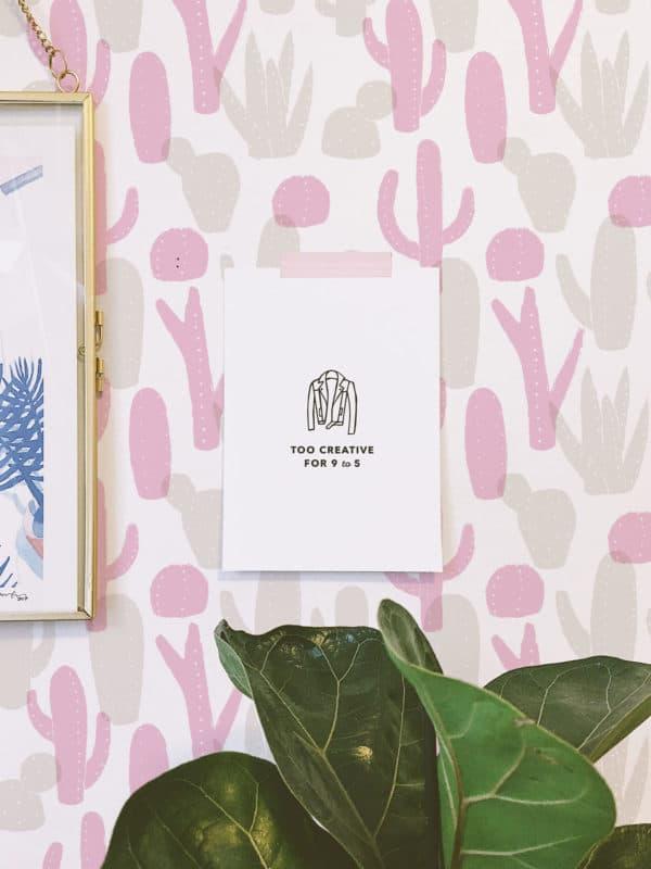 pink cactus wallpaper peel and stick