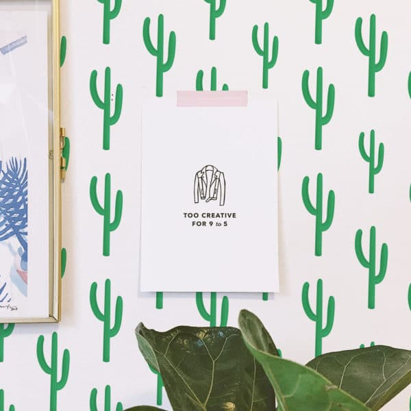 green cactus removable wallpaper
