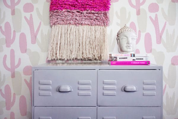 pink cactus removable wallpaper
