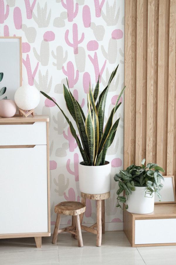 pink cactus self-adhesive wallpaper