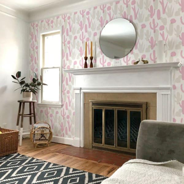 pink cactus peel and stick wallpaper