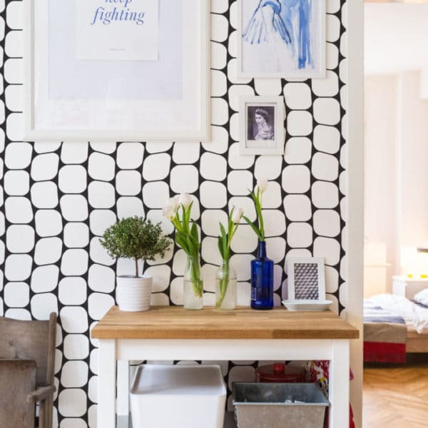 black and white cell pattern peel and stick removable wallpaper
