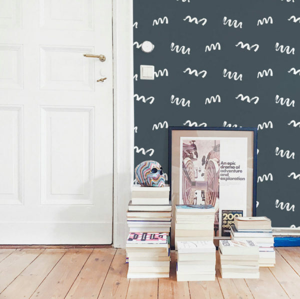 charcoal and white squiggly line peel and stick wallpaper