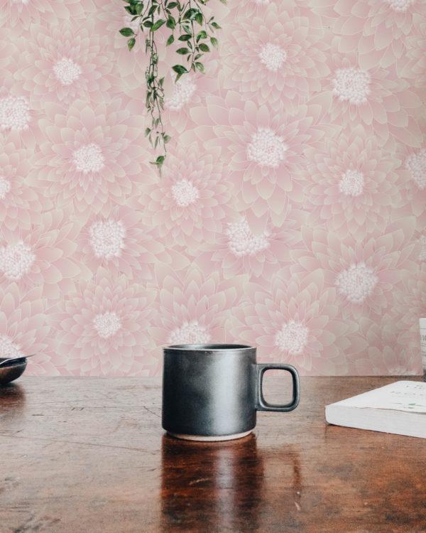 beige chrysanthemum floral self-adhesive wallpaper