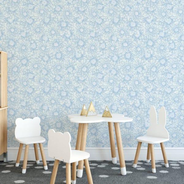 blue chrysanthemum floral self-adhesive wallpaper