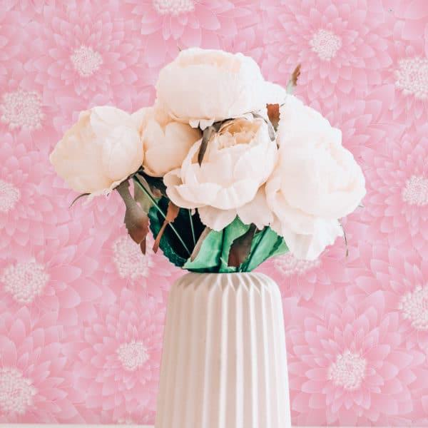 pink chrysanthemum floral peel and stick wallpaper