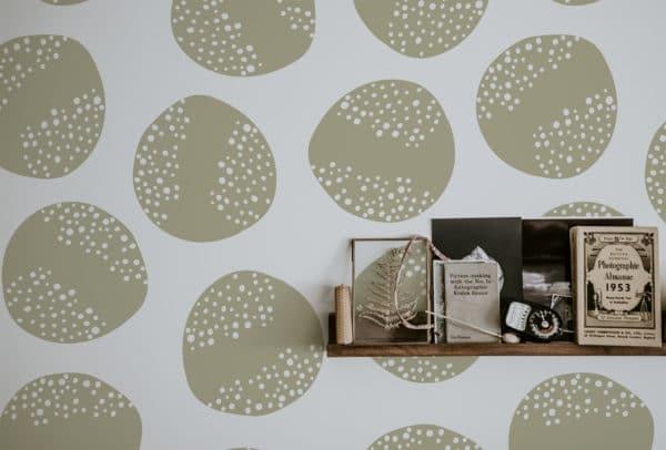 beige circle self-adhesive wallpaper