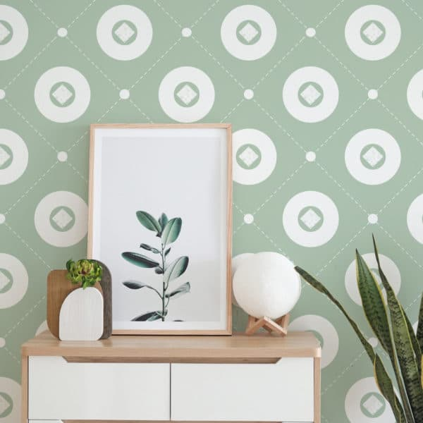 white and green circle wallpaper peel and stick