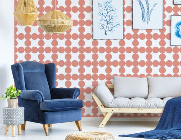 circle grid stick and peel wallpaper
