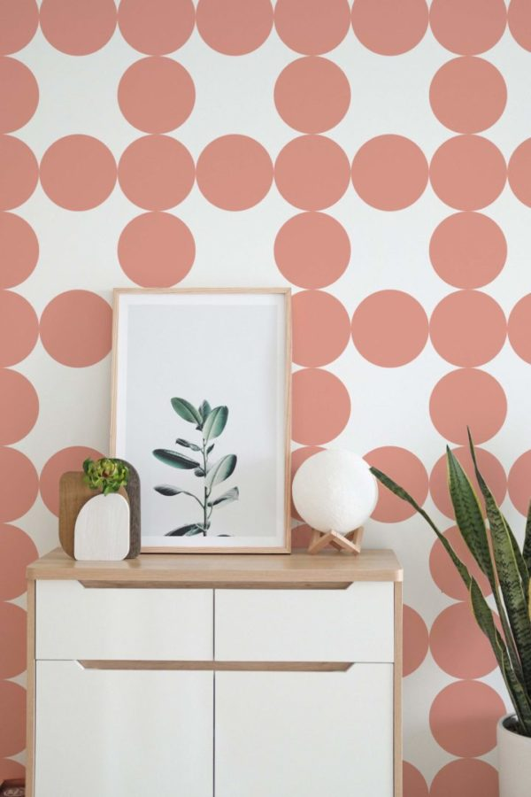 mauve and white circle grid peel and stick removable wallpaper