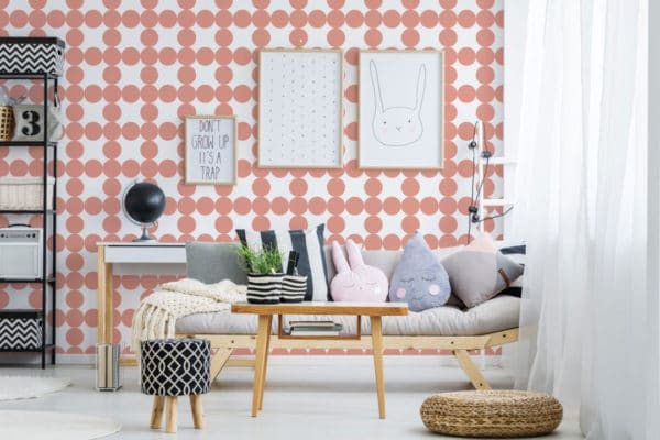 mauve and white circle grid peel and stick wallpaper
