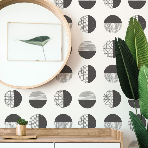 black and white circles peel and stick removable wallpaper