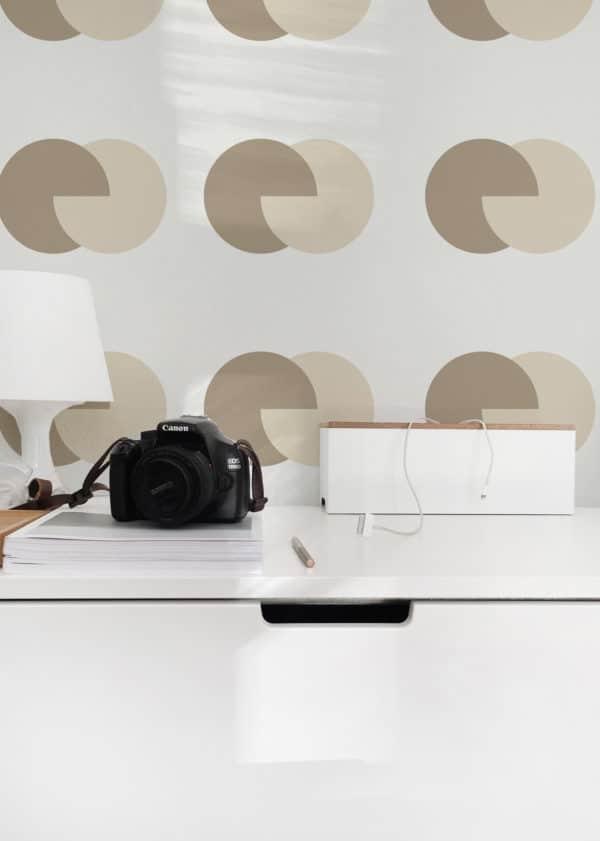 brown and beige circular self-adhesive wallpaper