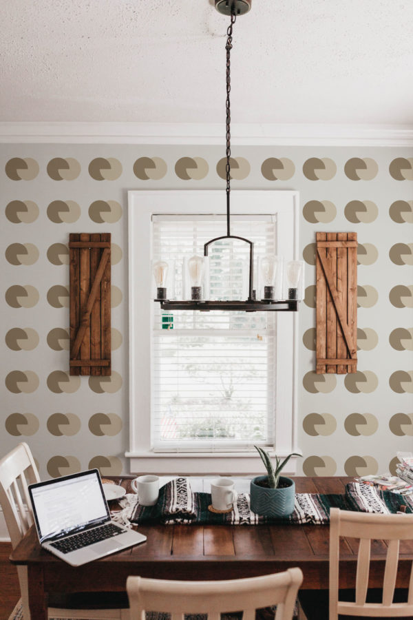 brown and beige circular peel and stick wallpaper
