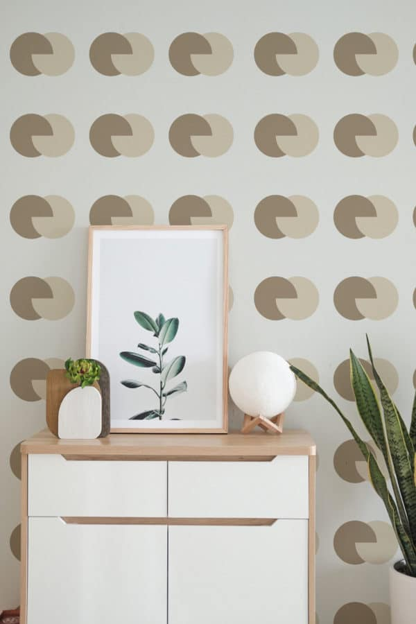 brown and beige circular peel and stick removable wallpaper