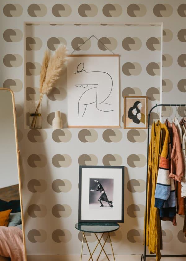 circular stick and peel wallpaper