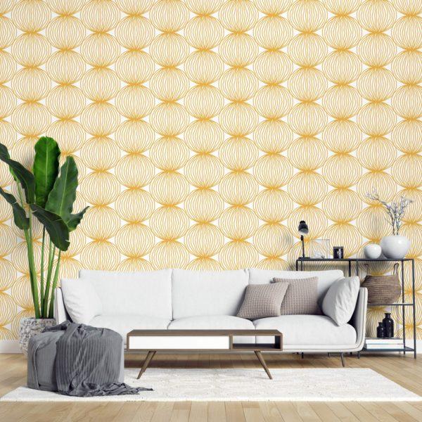 yellow wallpaper in modern interior