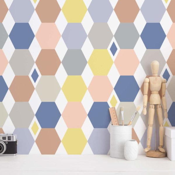 colorful hexagon peel and stick removable wallpaper