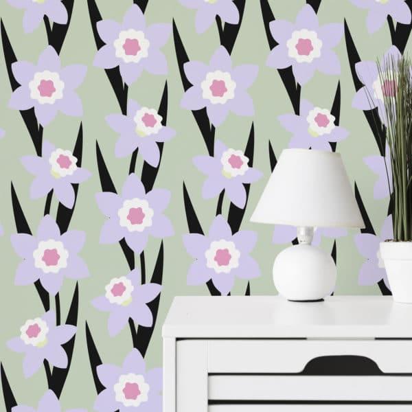 violet colorful modern floral wallpaper peel and stick