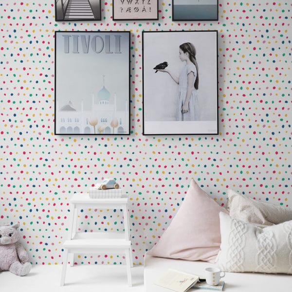 red colorful polka dot wallpaper peel and stick
