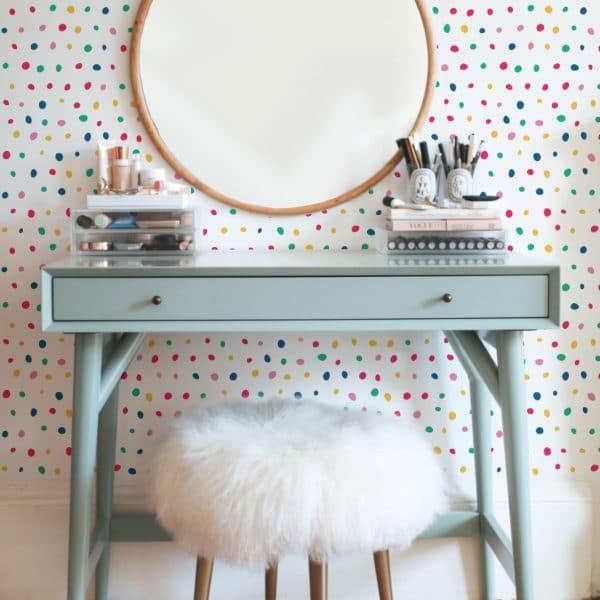 red colorful polka dot self-adhesive wallpaper