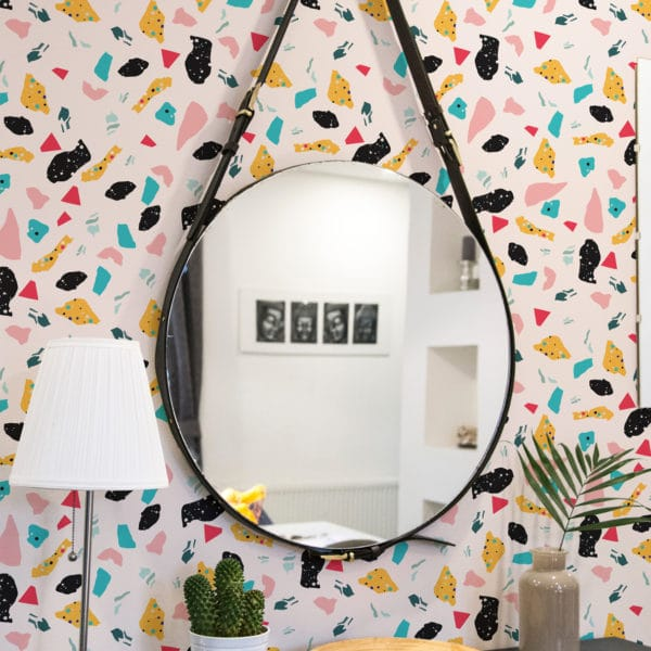 pink colorful terrazzo wallpaper peel and stick