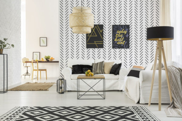 black and white contemporary herringbone peel and stick removable wallpaper