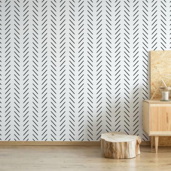 black and white contemporary herringbone self-adhesive wallpaper