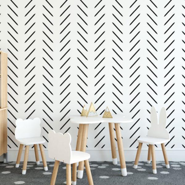 black and white contemporary herringbone removable wallpaper