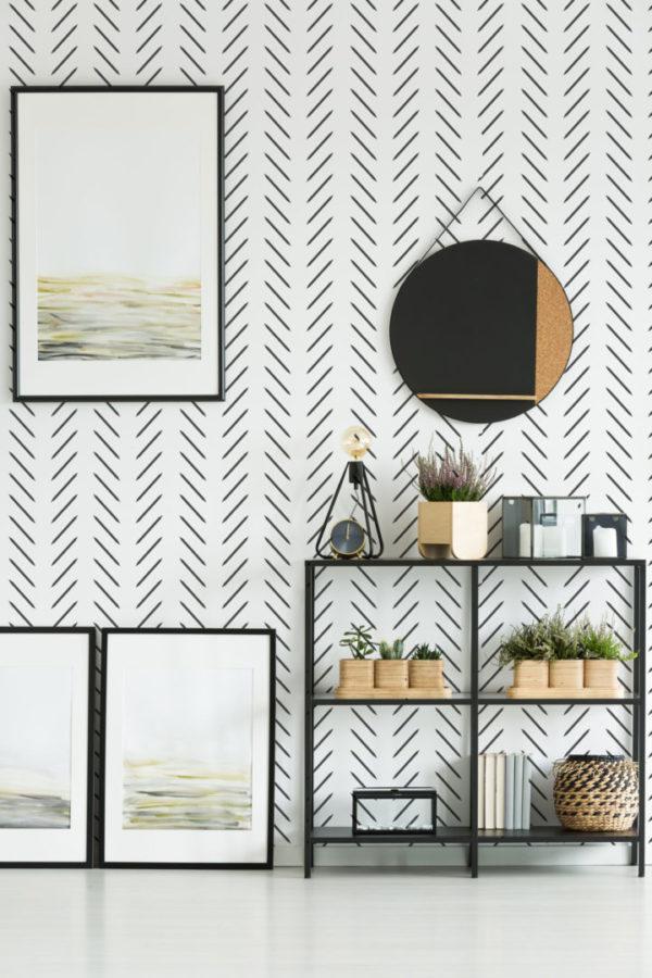 black and white contemporary herringbone wallpaper roll