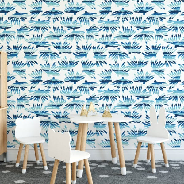 white and blue coral removable wallpaper