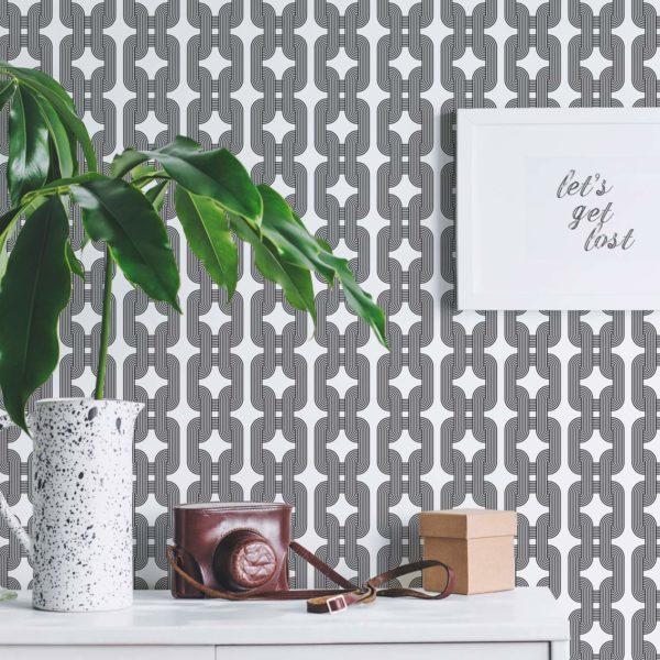 black custom color chain peel and stick wallpaper