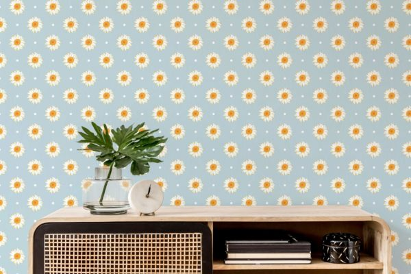 white and blue daisy polka dots wallpaper roll
